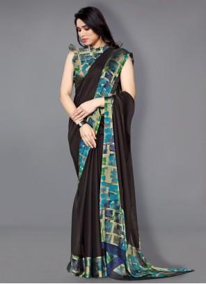 Traditional Saree Printed Faux Chiffon in Multi Colour
