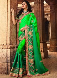 Traditional Saree Stone Work Silk in Green
