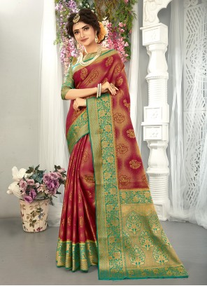Traditional Saree Weaving Art Silk in Green and Wine