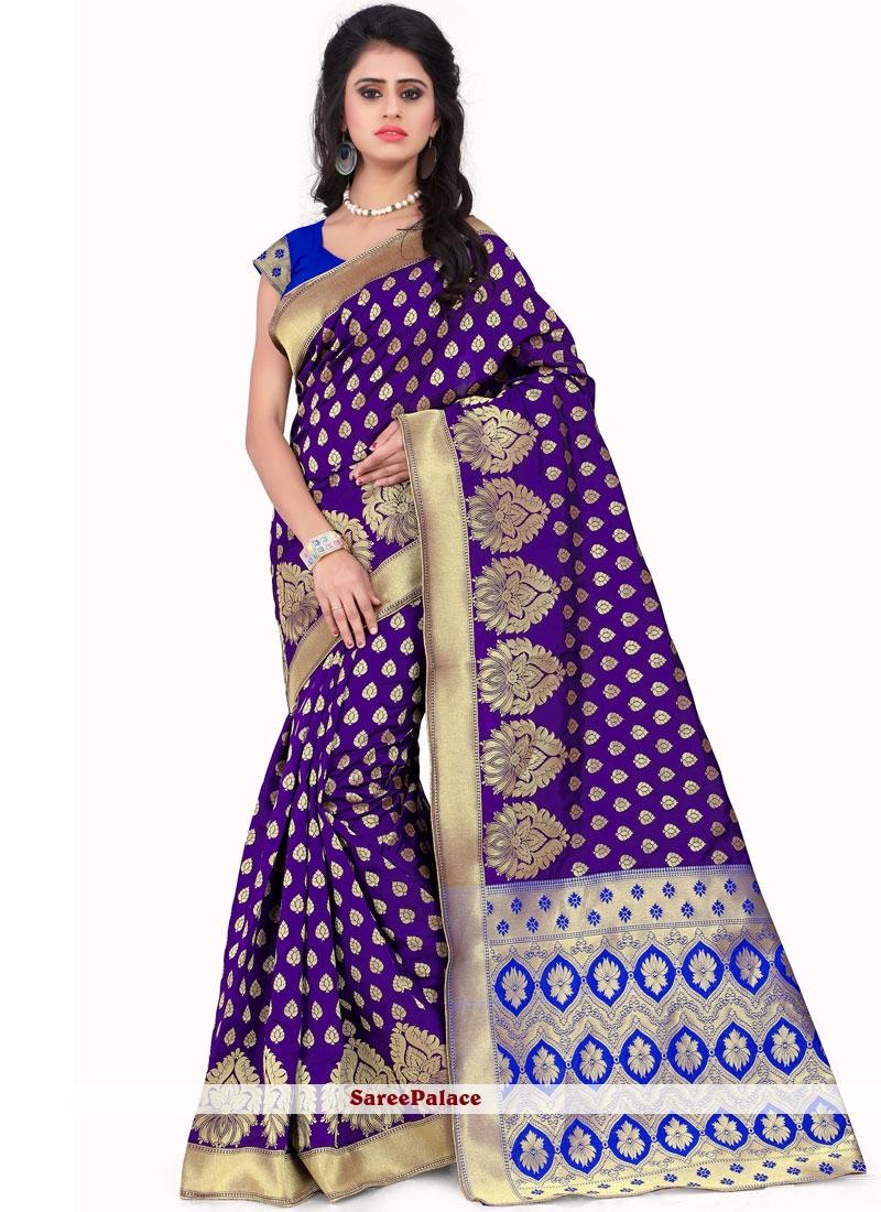 Traditional Saree Weaving Art Silk in Purple
