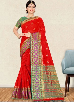 Traditional Saree Weaving Art Silk in Red