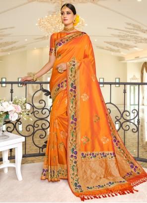Traditional Saree Weaving Banarasi Silk in Orange