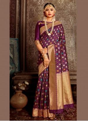 Traditional Saree Weaving Banarasi Silk in Purple