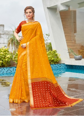 Traditional Saree Weaving Cotton in Yellow