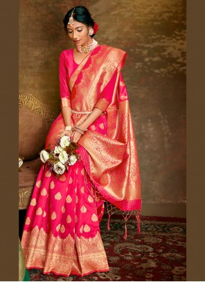 Traditional Saree Weaving Fancy Fabric in Hot Pink