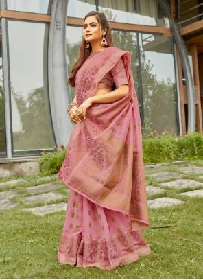 Traditional Saree Weaving Handloom Cotton in Pink