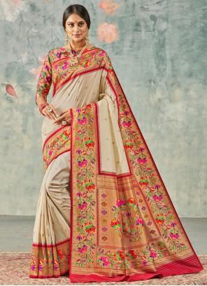 Traditional Saree Weaving Handloom silk in Beige