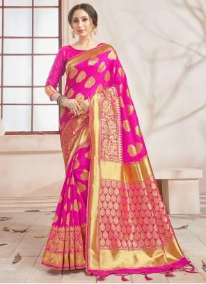 Traditional Saree Woven Art Banarasi Silk in Hot Pink