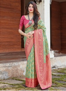 Traditional Saree Woven Art Silk in Sea Green