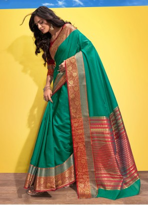 Traditional Saree Woven Cotton in Green