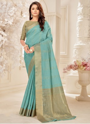 Traditional Saree Woven Cotton Silk in Blue