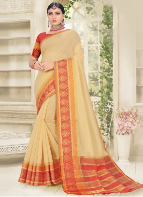 Traditional Saree Woven Cotton Silk in Cream