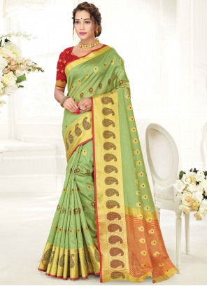 Traditional Saree Woven Handloom Cotton in Green