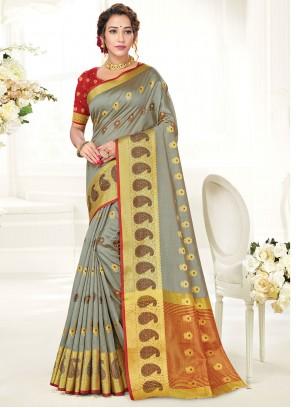 Traditional Saree Woven Handloom Cotton in Grey