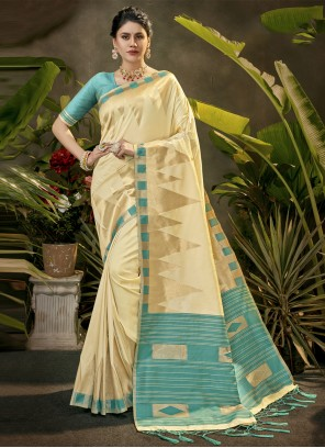 Traditional Saree Woven Silk in Cream
