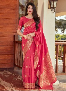 Traditional Saree Woven Silk in Hot Pink