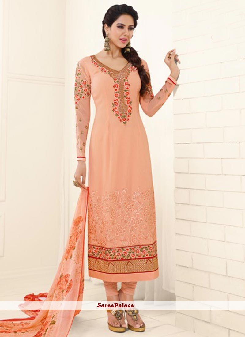 Transcendent Embroidered Work Faux Georgette Churidar Designer Suit