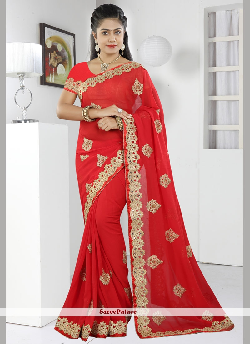 Transcendent Embroidered Work Red Faux Chiffon Designer Saree