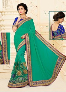 Transcendent Georgette Embroidered Work Designer Half N Half saree