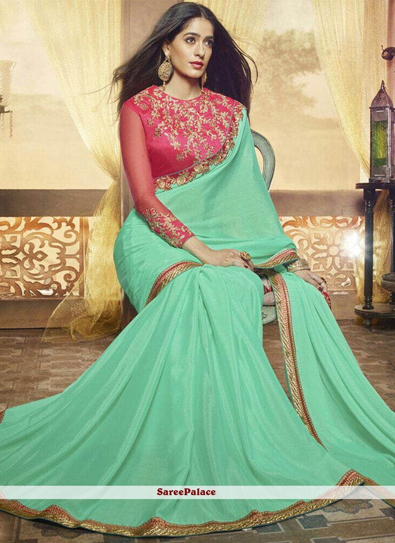 Transcendent Patch Border Work Sea Green Saree