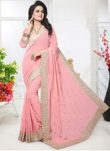 Transcendent Pink Resham Work Faux Georgette Designer Saree