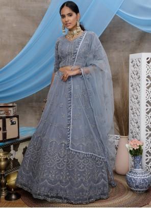 Grey Trendy A Line Lehenga Choli For Engagement