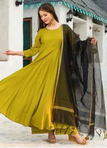 Trendy Anarkali Green Salwar Kameez For Festival