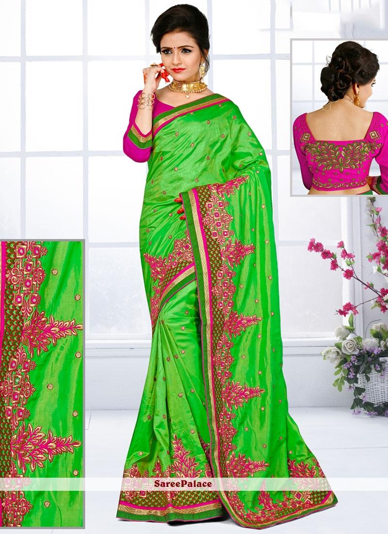Trendy Art Silk Patch Border Work Designer Traditional Saree