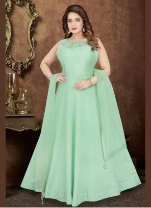 Green Trendy Designer Salwar Kameez For Reception