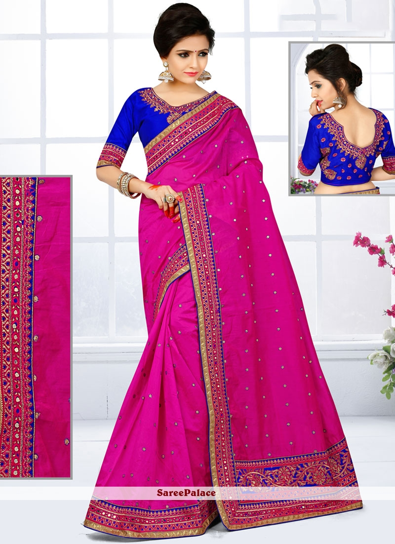 Trendy Hot Pink Embroidered Work Chanderi Traditional  Saree