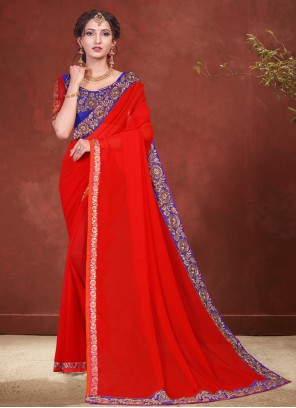 Red Trendy Saree For Ceremonial