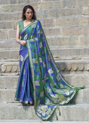 Green And Blue Satin Trendy Saree For Ceremonial