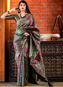 Grey Color Trendy Saree For Festival