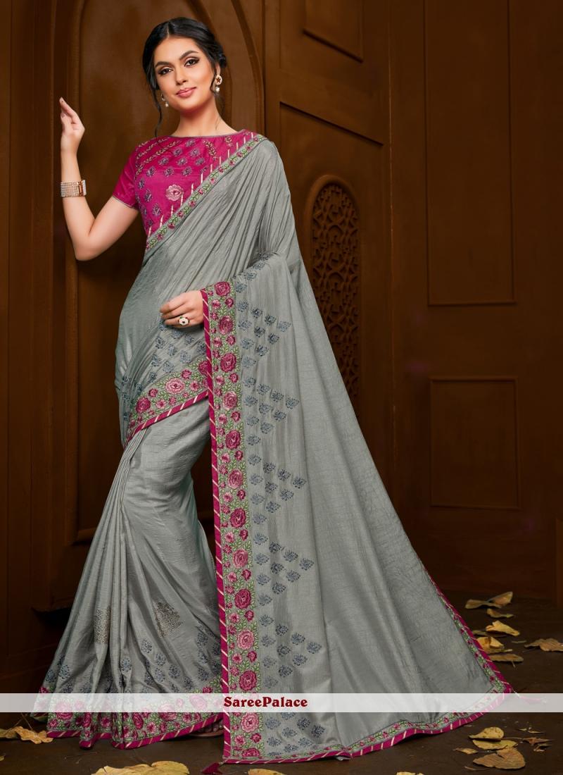 Trendy Grey Saree For Festival