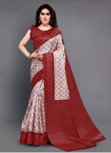 Maroon Silk Trendy Saree For Party