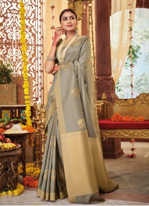 Grey Trendy Saree For Party