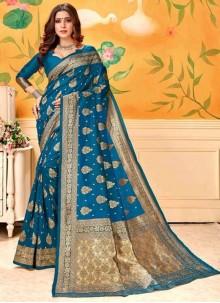 Art Silk Firozi Trendy Saree For Reception