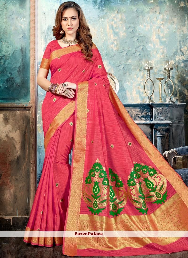 Trendy Silk Peach Abstract Print Work Traditional  Saree