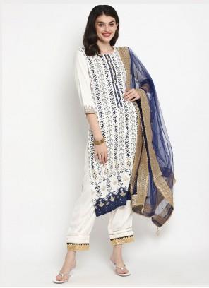 Trendy Straight White Salwar Kameez For Festival