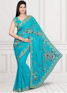 Trendy Turquoise Embroidered Work Designer Saree