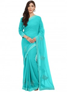 Turquoise Abstract Printed Faux Chiffon Saree
