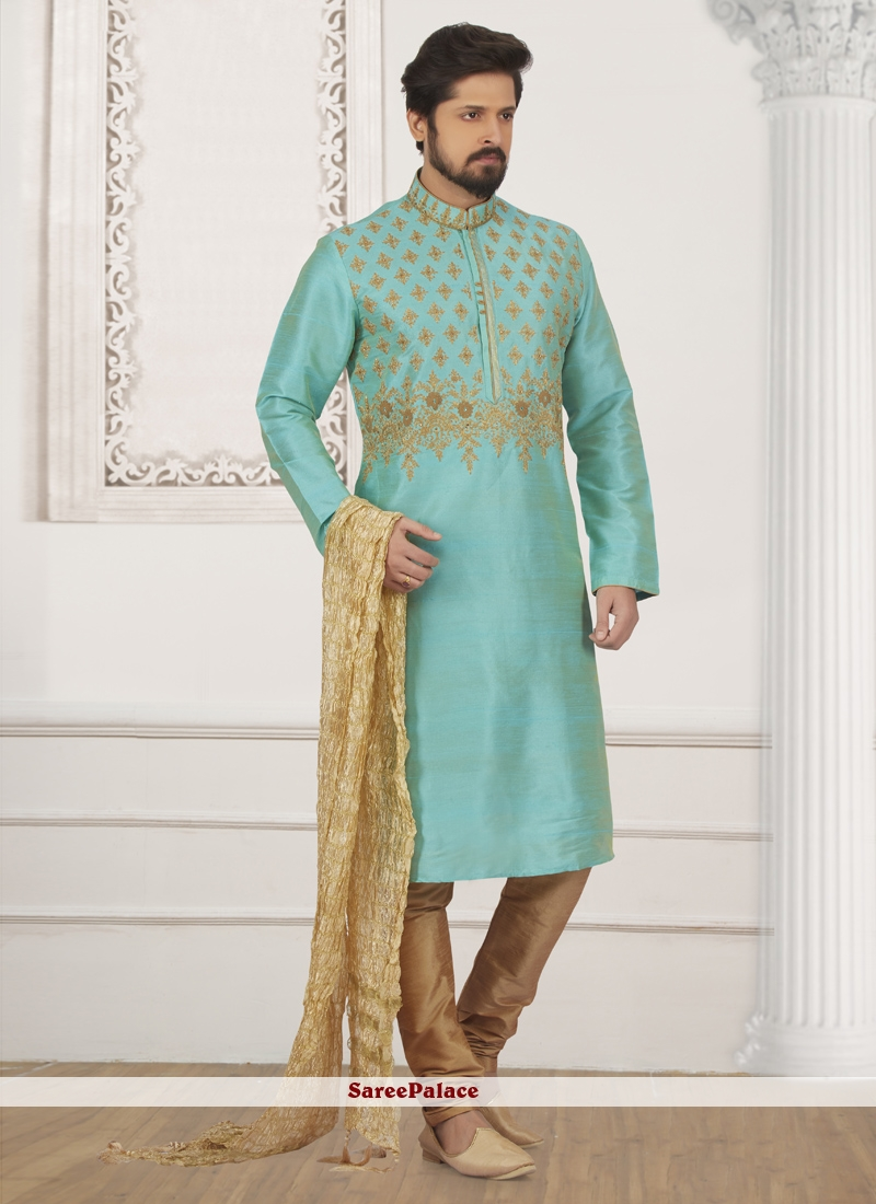 2f14ba91bc Buy Turquoise Art Banarasi Silk Kurta Pyjama Online