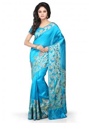 Turquoise Art Banarasi Silk Weaving Designer Traditional Saree