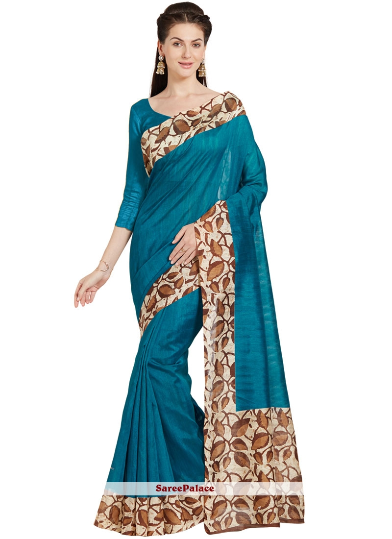 Turquoise Art Silk Casual Saree