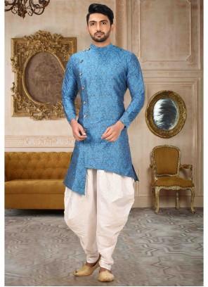 Turquoise Art Silk Plain Kurta Pyjama