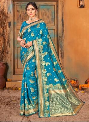 Turquoise Banarasi Silk Mehndi Classic Saree