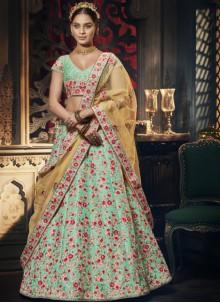 Turquoise Bridal A Line Lehenga Choli