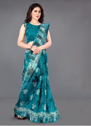 Turquoise Casual Cotton Casual Saree