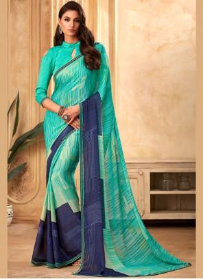 Turquoise Casual Georgette Designer Saree