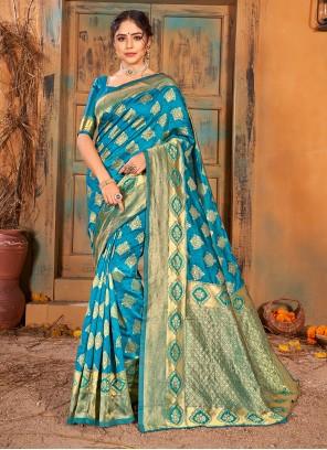 Turquoise Ceremonial Banarasi Silk Classic Saree